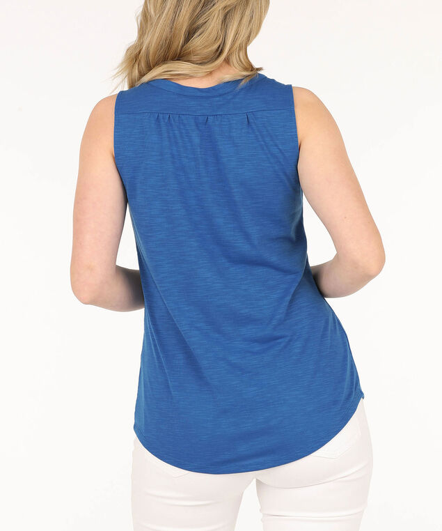 Sleeveless Henley Tee, Blue, hi-res