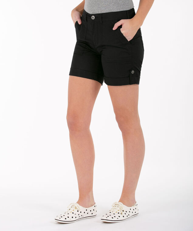 Poplin Roll-Tab Short, Black, hi-res
