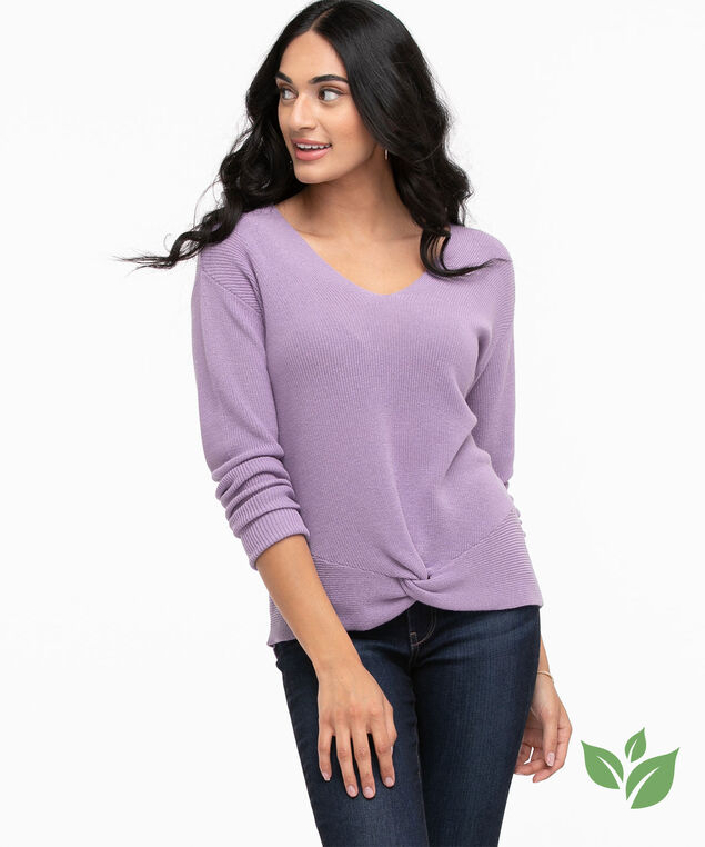 Eco-Friendly Knot Front Sweater, Chalk Violet