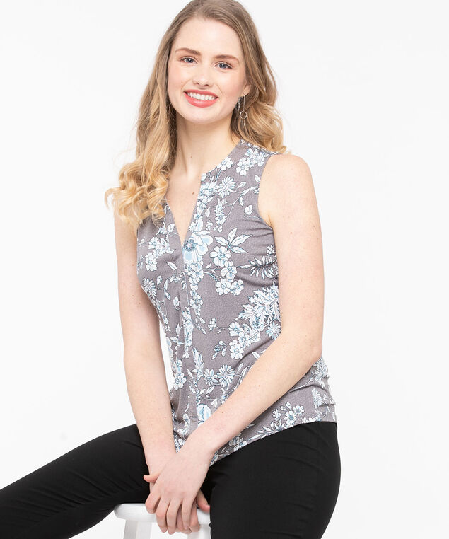 Sleeveless Split Neck Top, Grey/Sky Blue/Pearl, hi-res