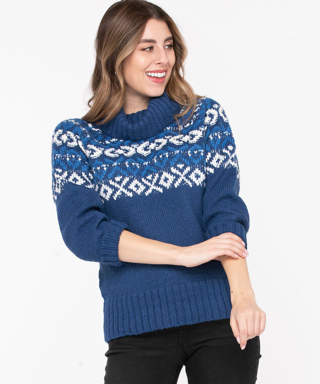 Blue Winter Pattern Turtleneck Sweater, Bijou Blue/Pearl, hi-res
