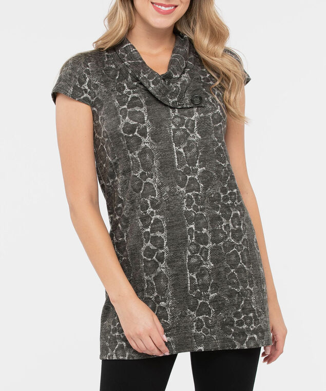 Cap Sleeve Split Neck Tunic, Charcoal/Heather Grey, hi-res