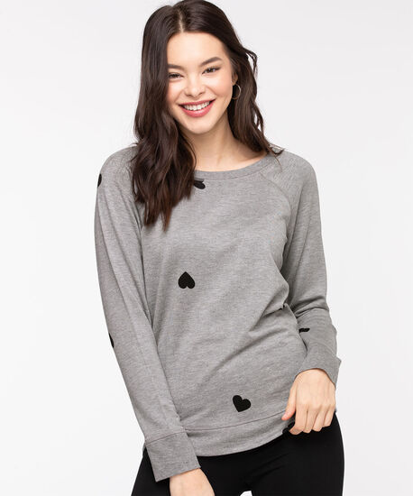 French Terry Black Heart Pullover, Grey/Black Heart, hi-res