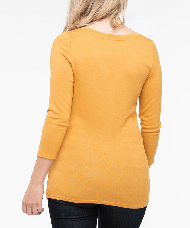 Stud Detail Henley Knit Top, Marigold, hi-res