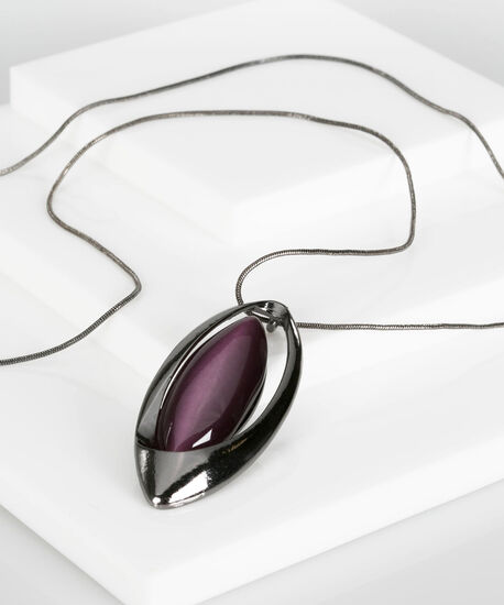 Leaf Shaped Cateye Necklace, Deep Purple/Hematite, hi-res