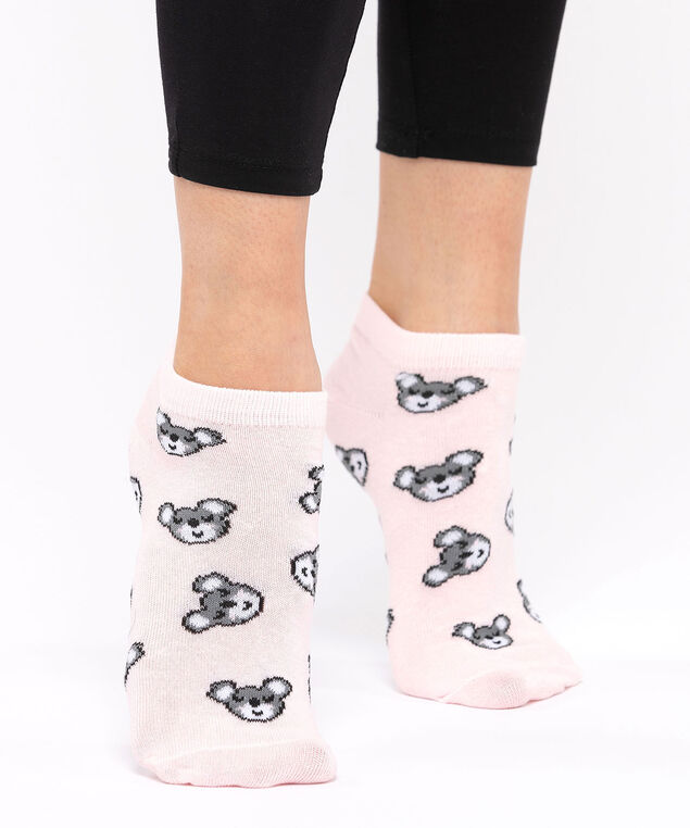 Koala Print Ankle Socks, Rose Petal/Black/Pearl, hi-res