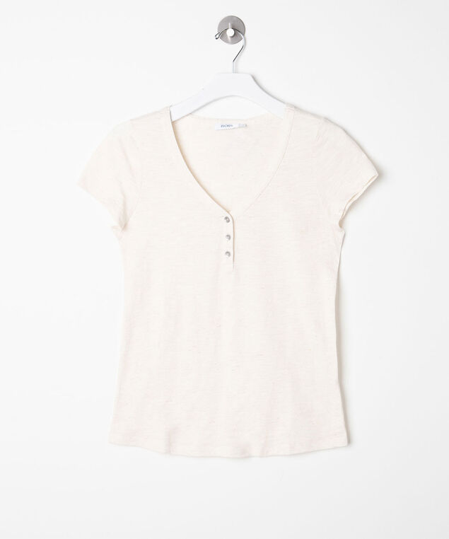 Short Sleeve Henley Tee, Sand Mix, hi-res
