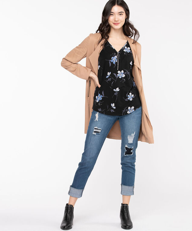 Sleeveless Zip Front Double-V Top, Black Floral