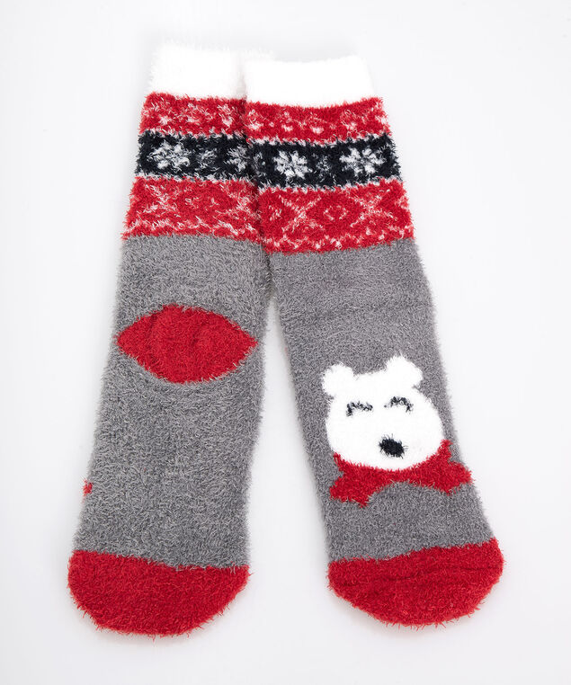 Polar Bear Plush Socks, Crimson/Black/Pearl, hi-res