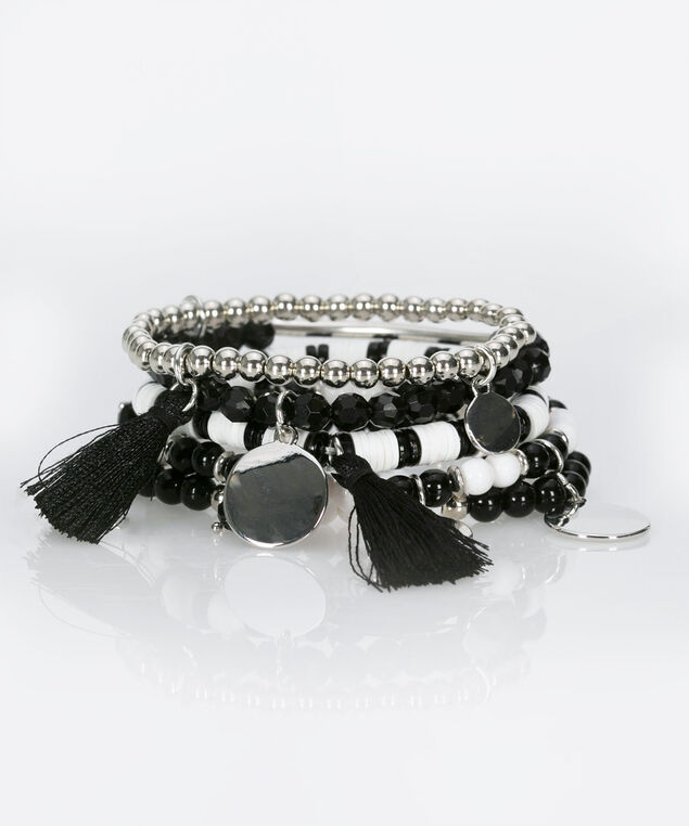 Multi Media Beaded Bracelet Set, True White/Black/Rhodium, hi-res