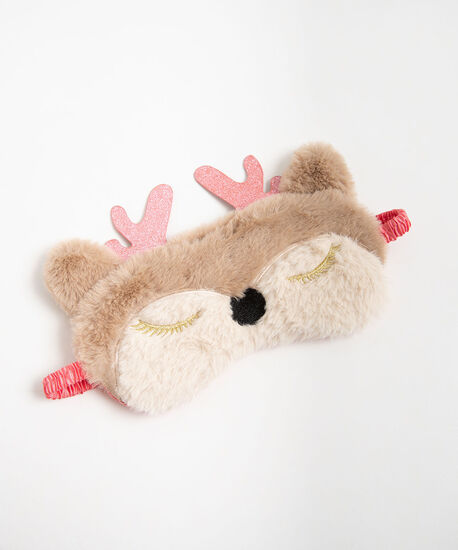 Reindeer Faux Fur Sleep Mask, Almond/Oatmeal/Gold, hi-res