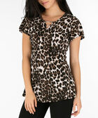 Animal Print Flutter Sleeve Top, Brown/Black/Ivory, hi-res