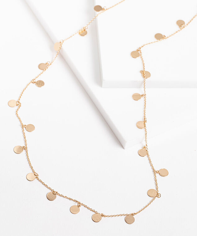 Small Stationed Circles Long Necklace, Gold