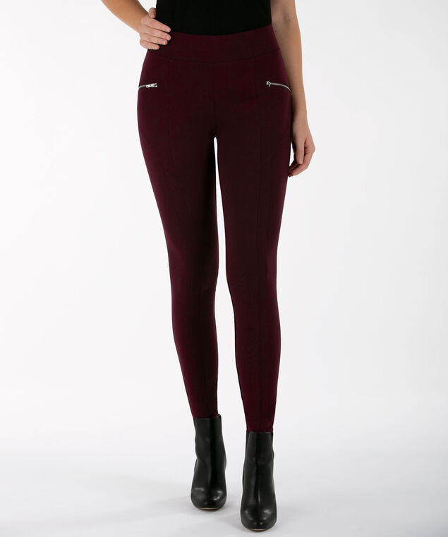 Zip Trim Luxe Ponte Legging, Wine, hi-res