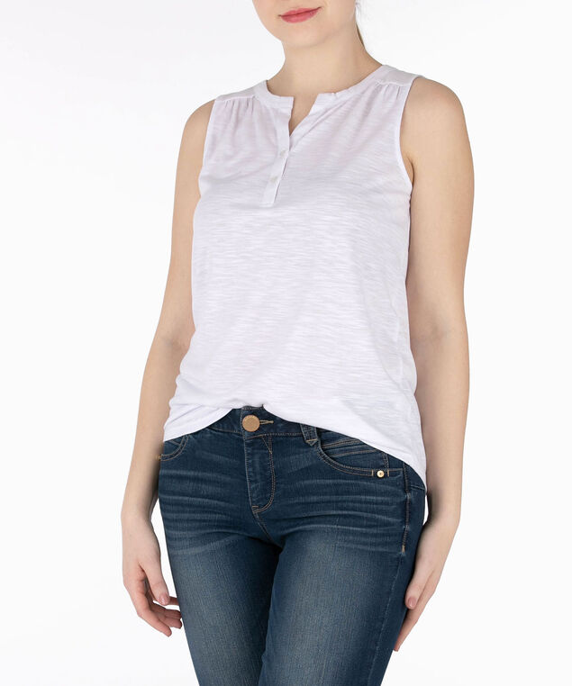 Sleeveless Henley Tee, True White, hi-res