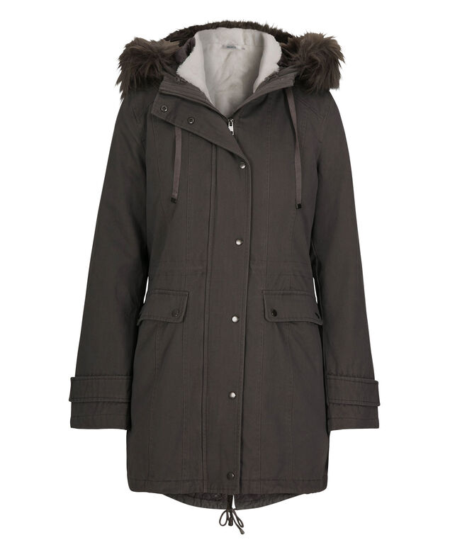 3-In-1 Cotton Anorak Coat, Charcoal, hi-res
