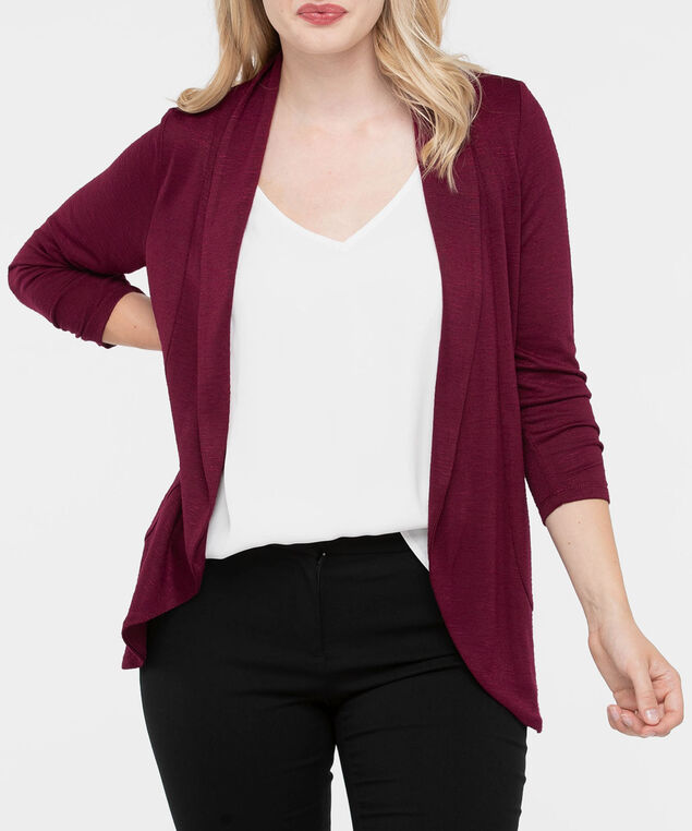 Shawl Collar Cardigan, Burgundy, hi-res
