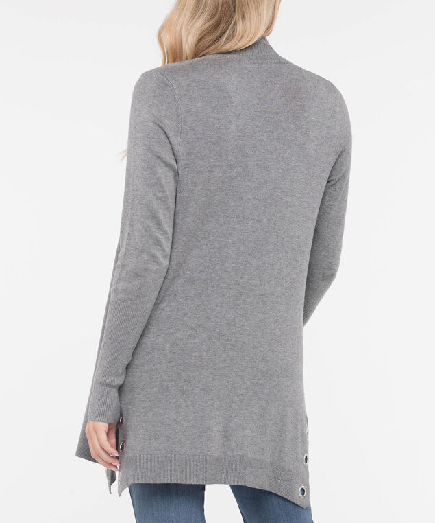 Hardware Trim Open Cardigan, Light Heather Grey, hi-res