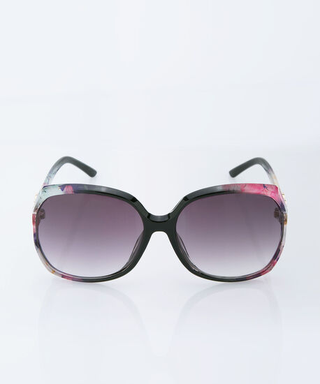 Square Floral Printed Sunglasses, Black/Pink/Purple, hi-res