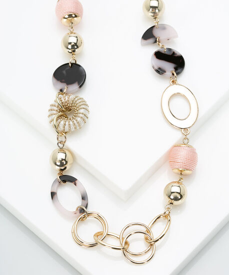 Stationed Ball & Resin Disc Necklace, Gold/Dusty Blush, hi-res
