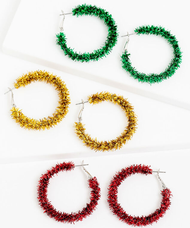 Tinsel Hoop Earring 3-Pack, Gold/Green/Red