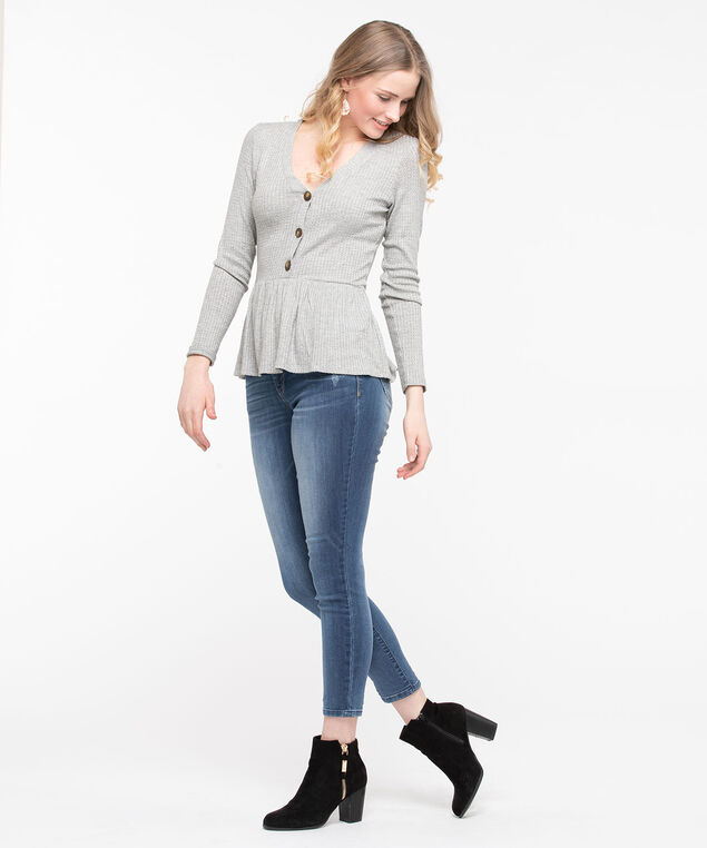 Waffle Knit Peplum Top, Heather Grey, hi-res