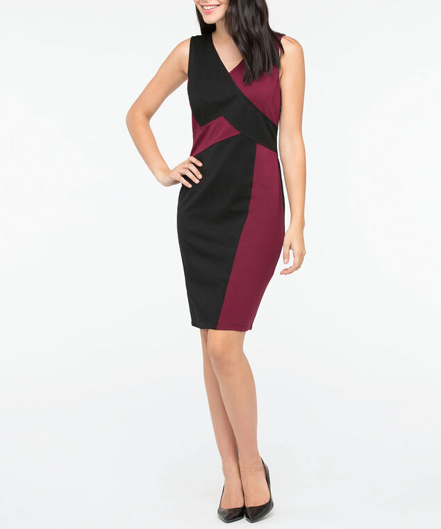 Sleeveless V-Neck Ponte Dress, Black/Burgundy, hi-res