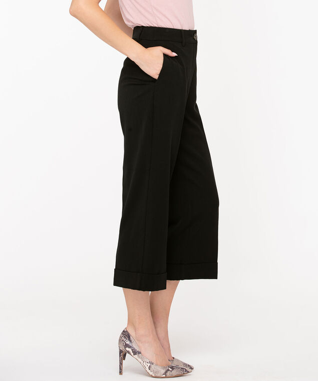 Tri-Blend Cropped Wide Leg , Black, hi-res