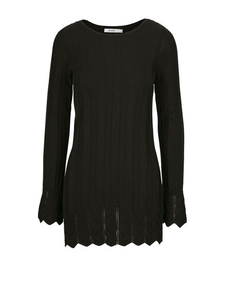 Mid Pointelle Pullover, Black, hi-res