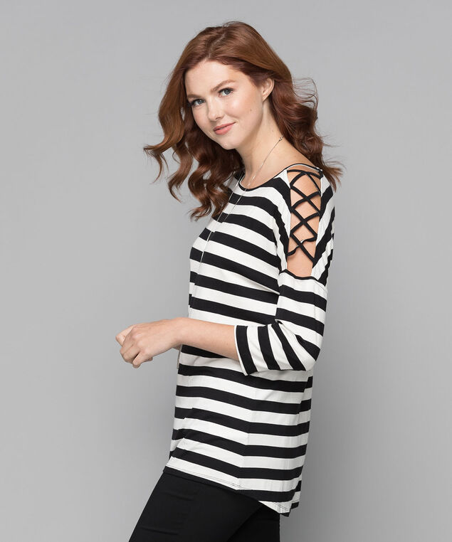Striped CrissCross Sleeve Top, Black/Milkshake, hi-res