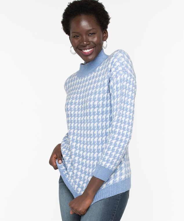 Houndstooth Mock Neck Sweater, Angel Blue/Pristine
