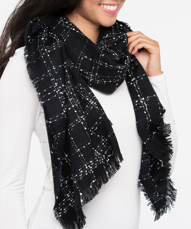 Frayed Edge Oblong Scarf, Black/Pearl, hi-res