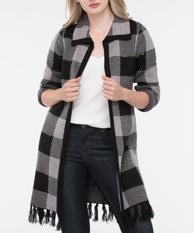Buffalo Check Tassel Trim Cardigan, Black/Mid Heather Grey, hi-res