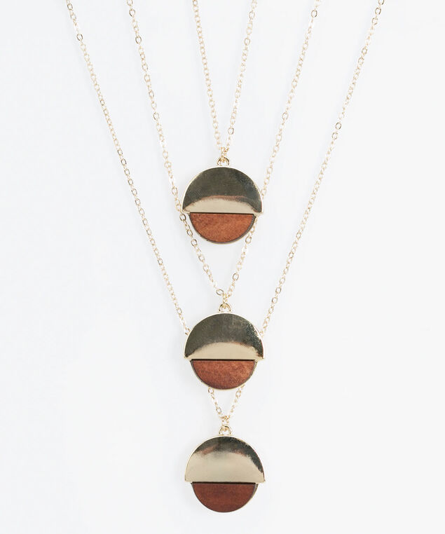 Wood & Golden Circle Necklace, Gold/Brown, hi-res