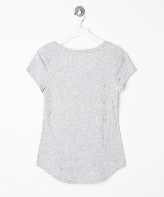 Short Sleeve Scoop Neck Tee, Heather Grey, hi-res