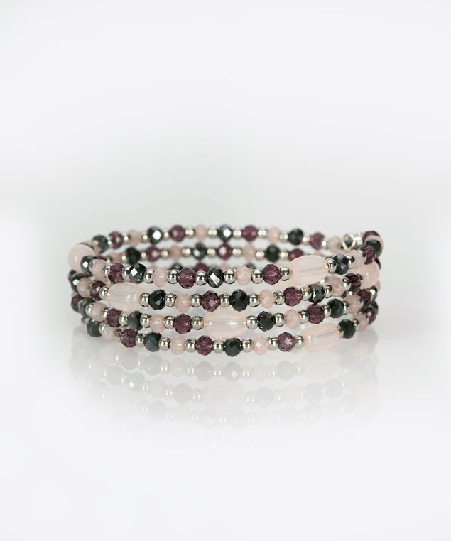 Faceted Bead Coil Bracelet, Deep Purple/Cameo Pink, hi-res