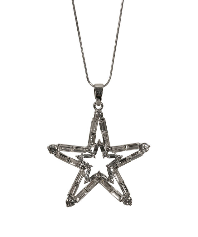 Crystal Star Pendant Necklace, Clear/Rhodium, hi-res