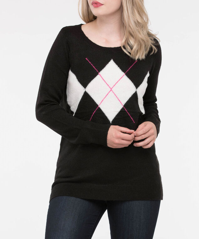 Argyle Scoop Neck Sweater, Black/Pearl/Bright Pink, hi-res