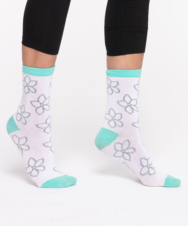 Flower Power Socks, Blue/White/Grey
