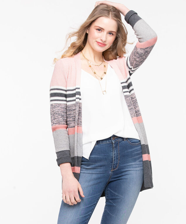 Mixed Stripe Long Open Cardigan, Rose Petal/Grey/Pearl, hi-res
