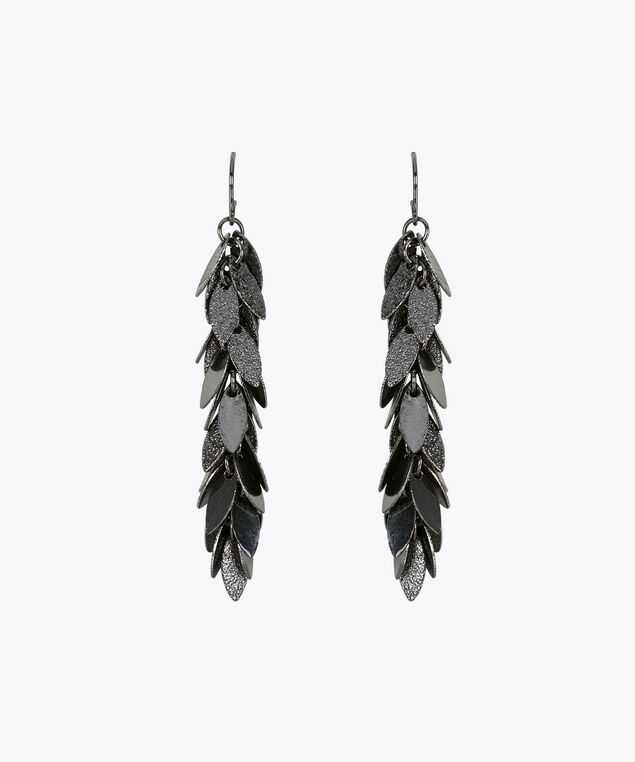 Chandelier Leaf Earring, Hematite, hi-res