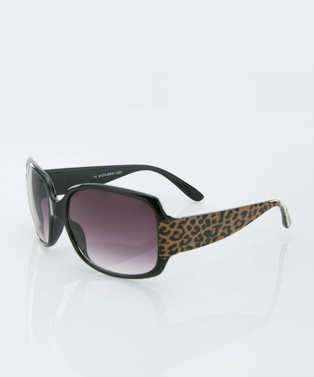 Cheetah Print Square Sunglasses, Black/Brown, hi-res
