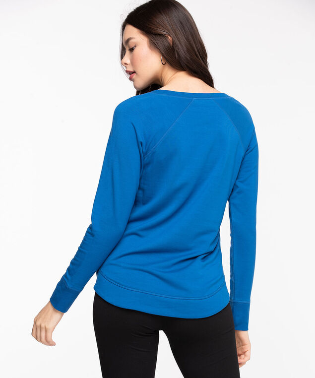 French Terry Curved Hem Pullover, Classic Blue