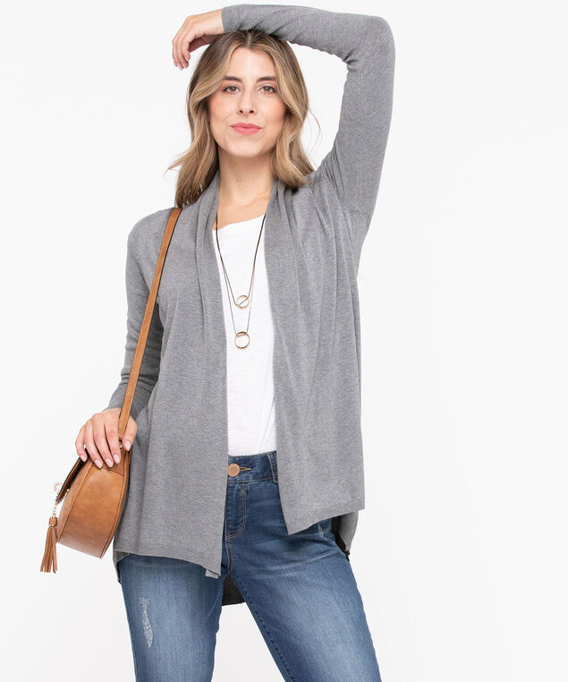 Long Curved Hem Open Cardigan, Grey, hi-res