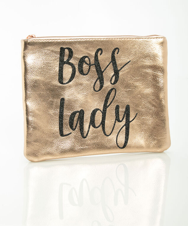Boss Lady Zippered Pouch, Rose Gold/Black, hi-res