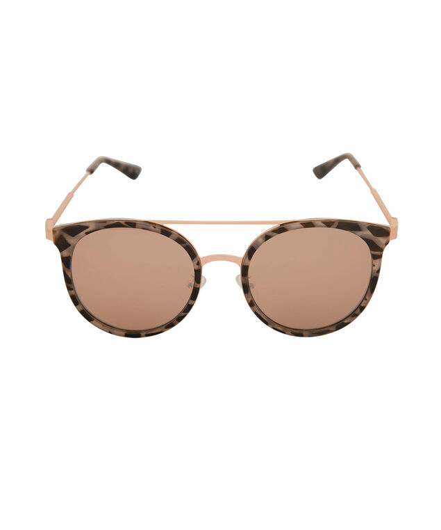 Rounded Metal & Tortoise Sunglasses, Brown/Gold, hi-res