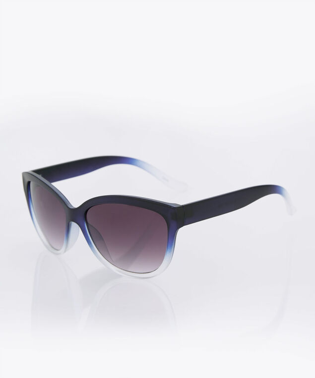 Ombre Frame Cateye Sunglasses, Blue/Black/Clear, hi-res