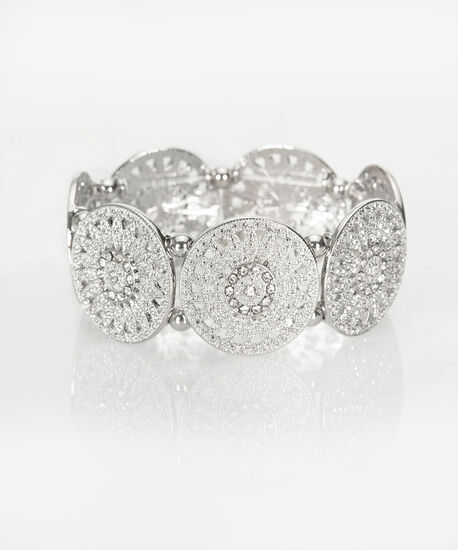 Floral Filigree Stretch Bracelet, Clear/Rhodium, hi-res