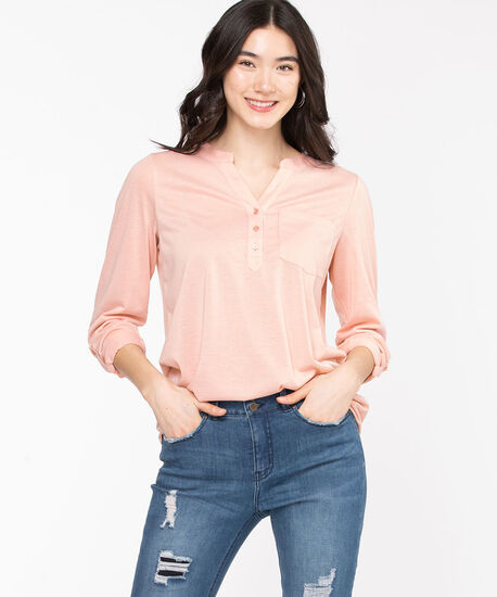 Henley Roll Sleeve Tunic Top, Rose Smoke, hi-res