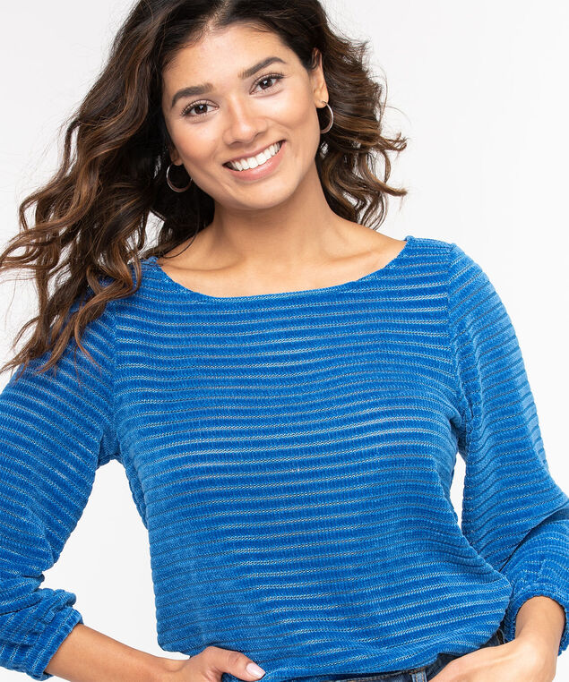 Chenille Shadow Stripe Pullover, Classic Blue, hi-res